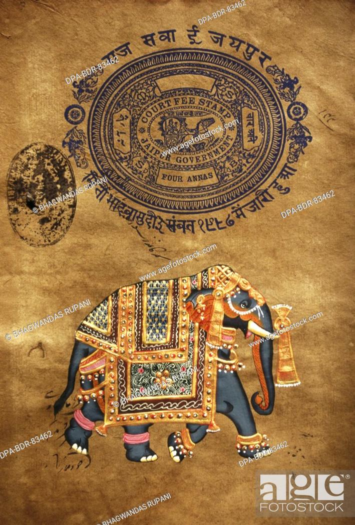 Elephant Hand Made Painting Old Stamp Paper Jaipur Rajasthan