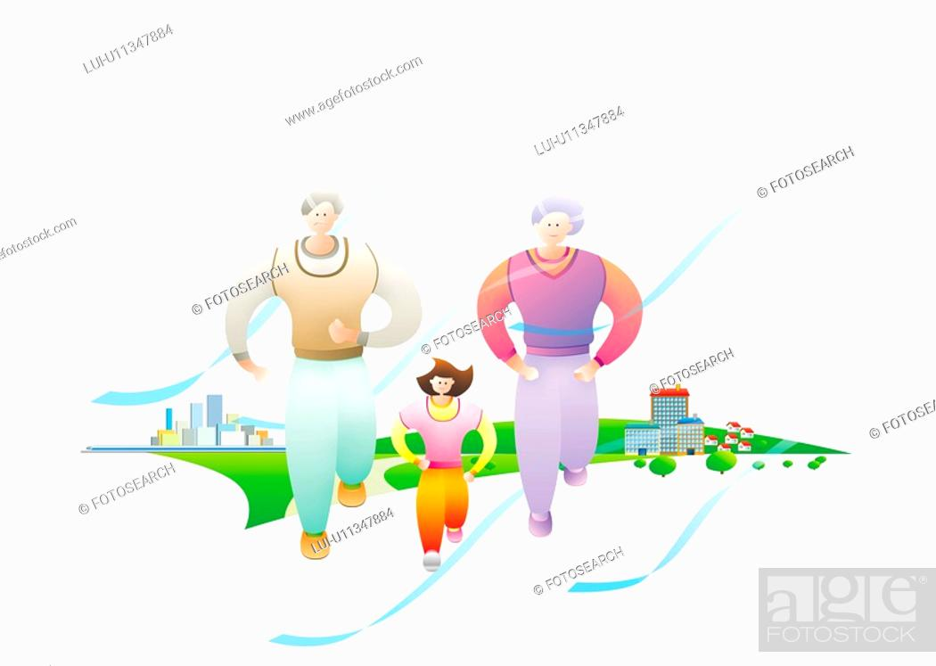 Stock Photo: Family Jogging.