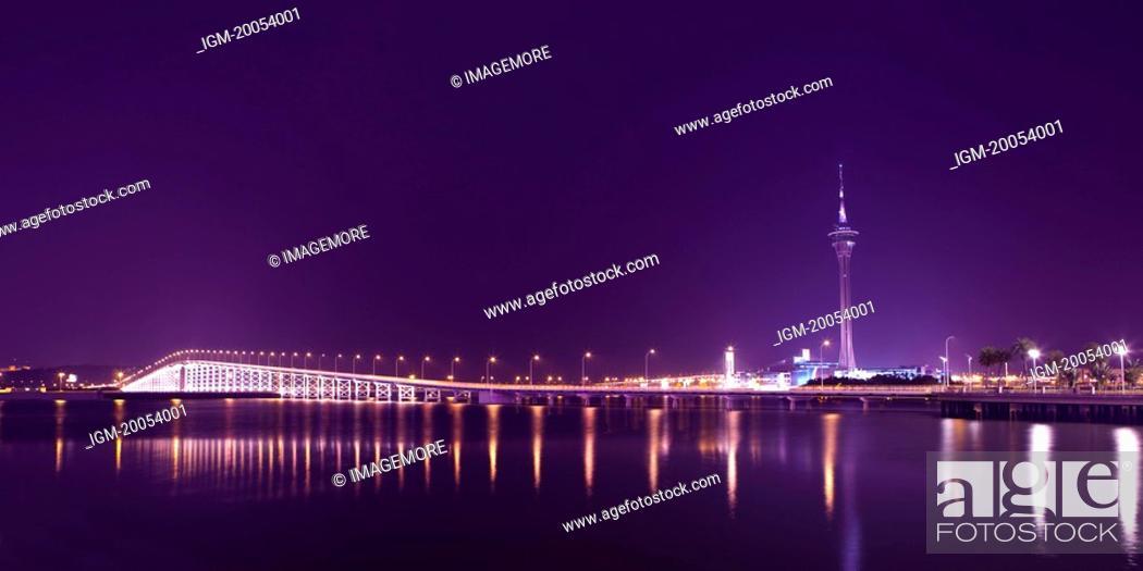 Stock Photo: China, Macau, Macau Tower, Macau Taipa Bridge.