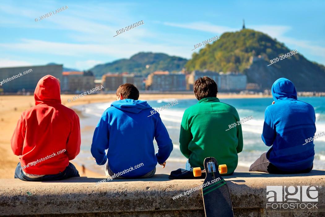 Stock Photo: La Zurriola beach, Donostia (San Sebastian), Basque Country, Spain.