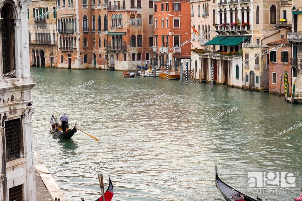 Stock Photo: Buildings along a canal, Grand Canal, Venice, Italy.