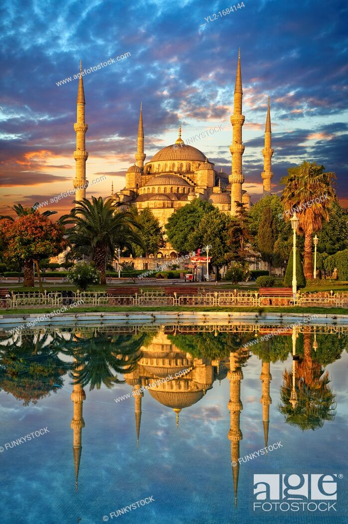 Stock Photo: Sunset over the Sultan Ahmed Mosque Sultanahmet Camii or Blue Mosque, Istanbul, Turkey  Built from 1609 to 1616 during the rule of Ahmed I.