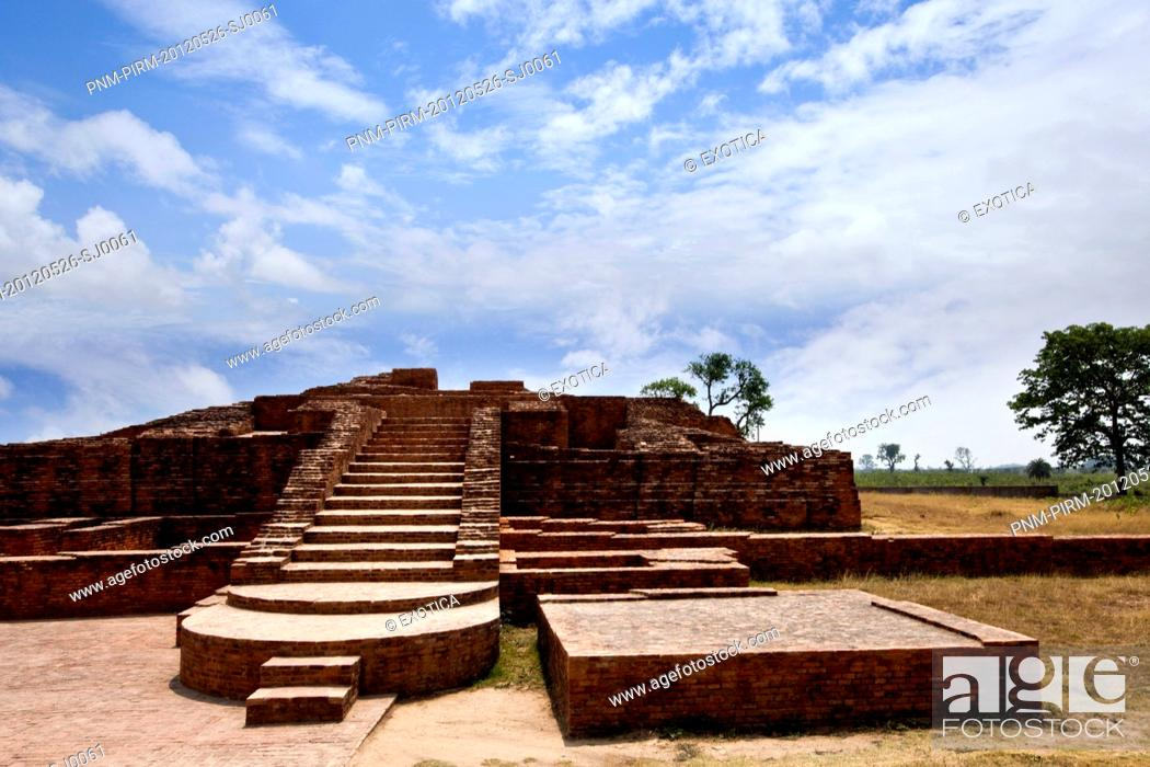 Stock Photo: Ruins at an archaeological site, Kachchi Kuti, Sravasti, Uttar Pradesh, India.