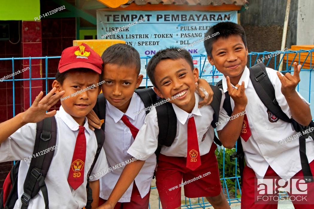 Stock Photo Funny Indonesian School Children Wearing Red And White Uniform Kota Bandung