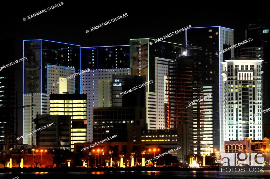 Stock Photo: Modern towers, Doha, capital of the Emirate of Qatar, Arabian Peninsula, Persian Gulf, Middle East.