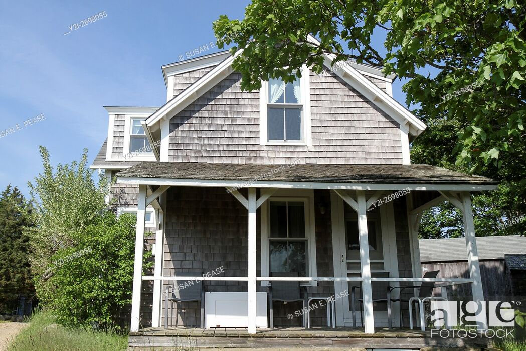 Stock Photo: A home in the fishing village of Menemsha, Chilmark, Martha's Vineyard, Massachusetts, United States, North America. Editorial use only.