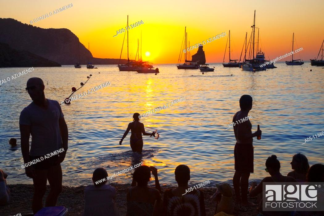 Stock Photo: Sunset in Benirras Beach. Ibiza. Balearic Islands. Spain.