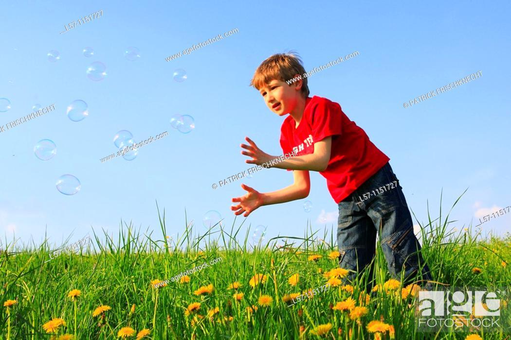 Stock Photo: boy playing with bubbles in field of Dandelions, Zuercher Oberland, Zuerich, Switzerland.