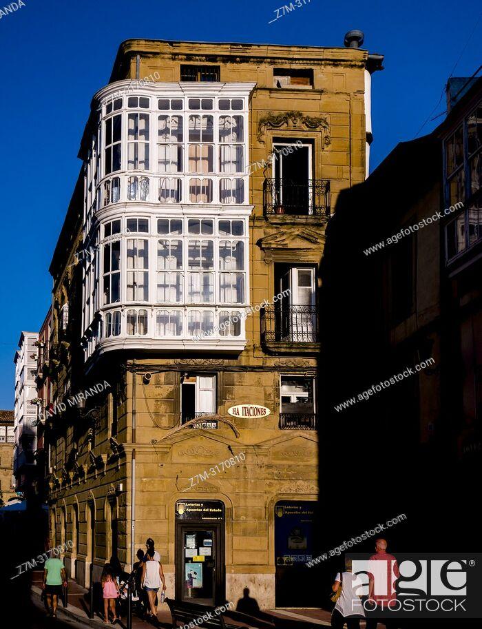 Stock Photo: Windows and galleries. Haro (capital of Rioja Wine). La Rioja. Spain.