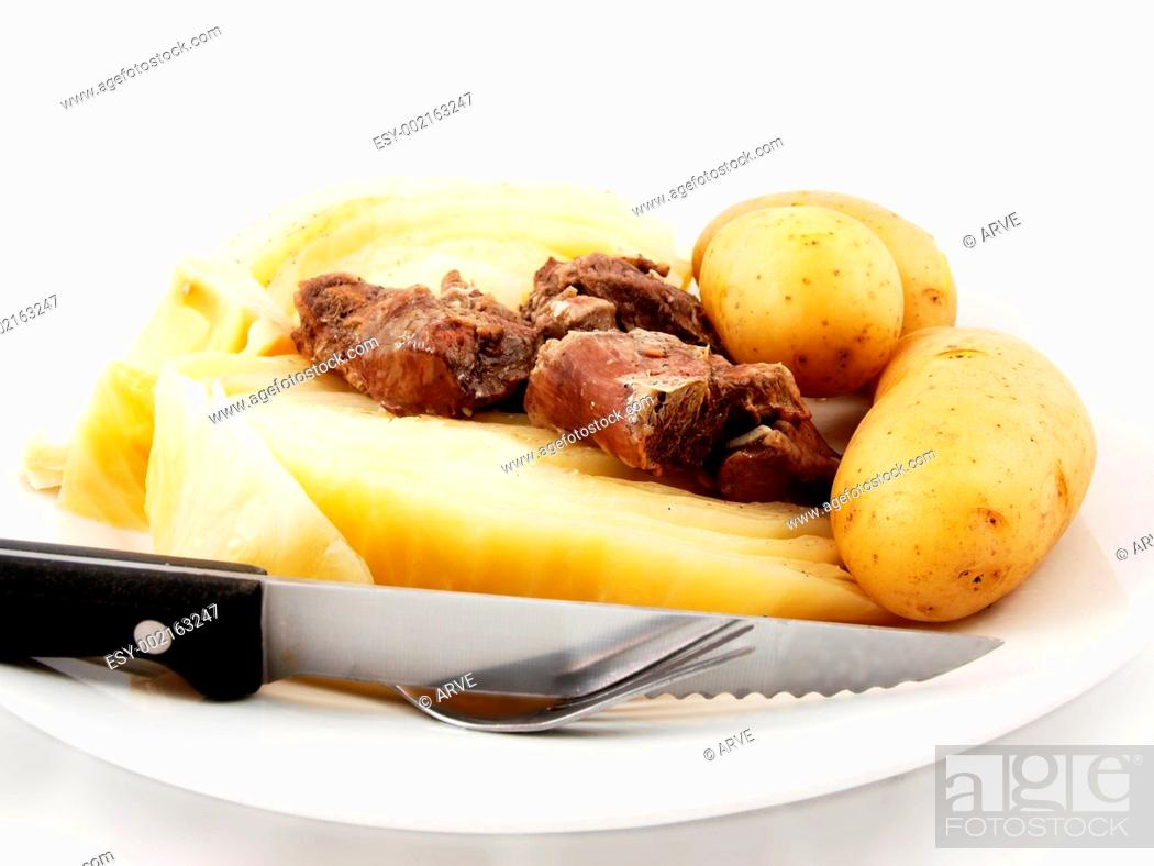 Stock Photo: Mutton with cabbage.