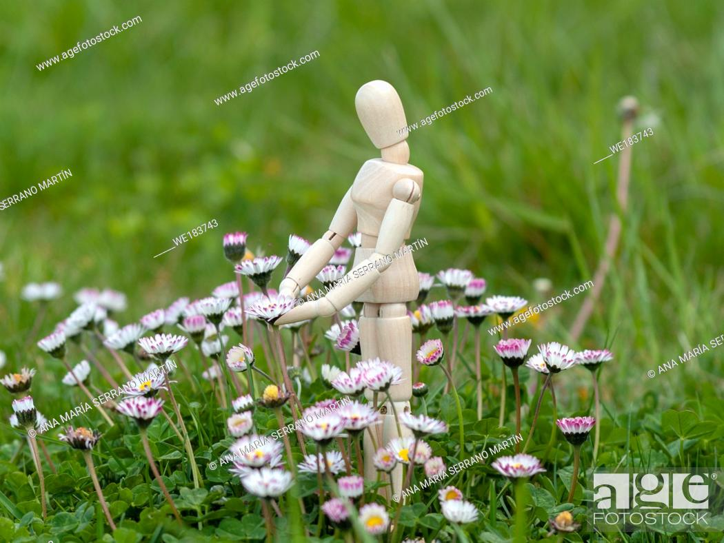 Imagen: Wooden mannequin between flowers on spring time Ecology concept.