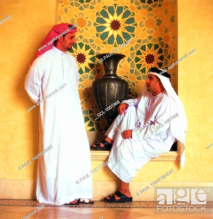Stock Photo: Arab men having a conversation.
