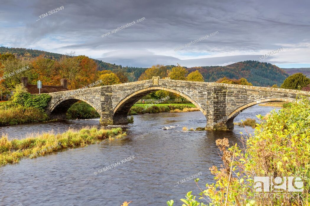 Stock Photo: Pont Fawr a 17th century stone bridge over the River Conwy at Llanrwst, Conwy, Wales, United Kingdom, Europe.