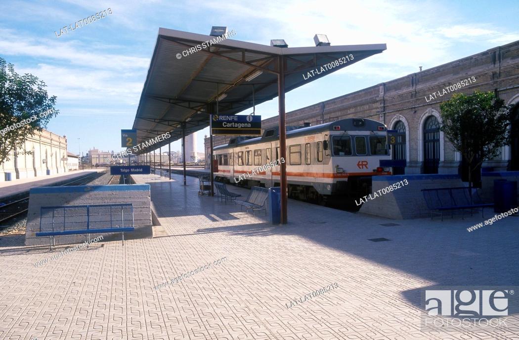 Stock Photo: Costa Calida. RENFE station. Train at platform.