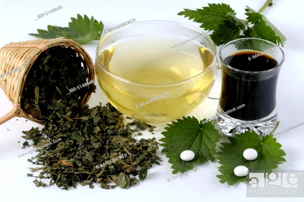Stock Photo: Glass with nettle juice, cup with nettle tea, nettle tablets and dried leaves (Urtica dioica).
