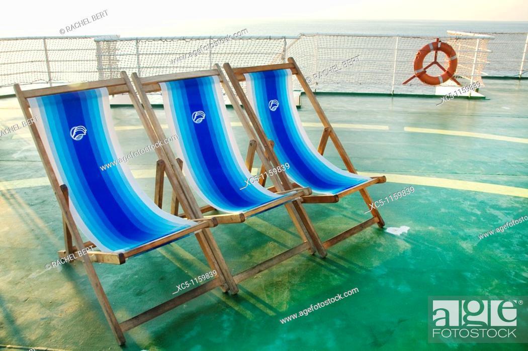 Stock Photo: hammocks, Barcelona-Livorno ferry.