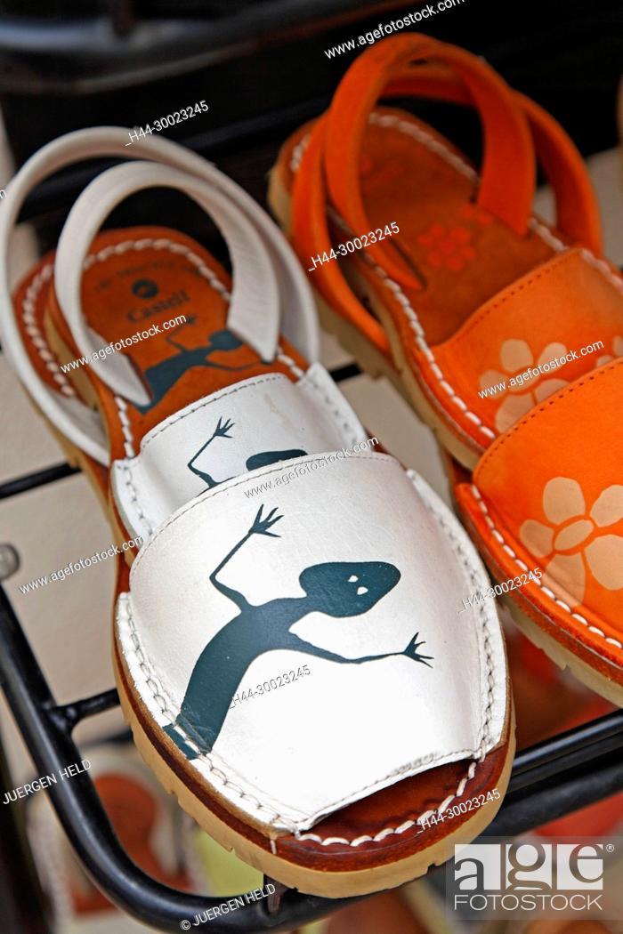 Stock Photo: Spain Menorca Mahon old city center hand made sandals.