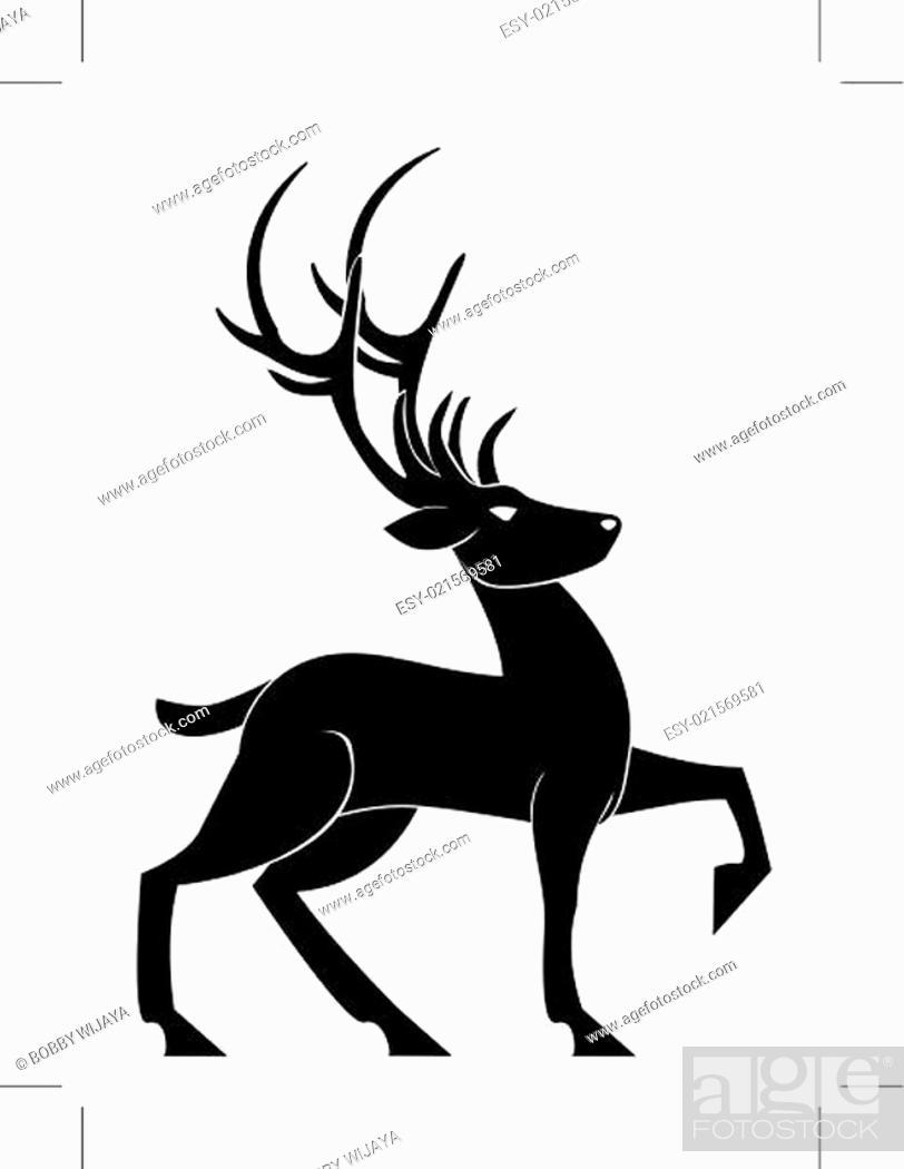 Stock Vector: Deer Pose.