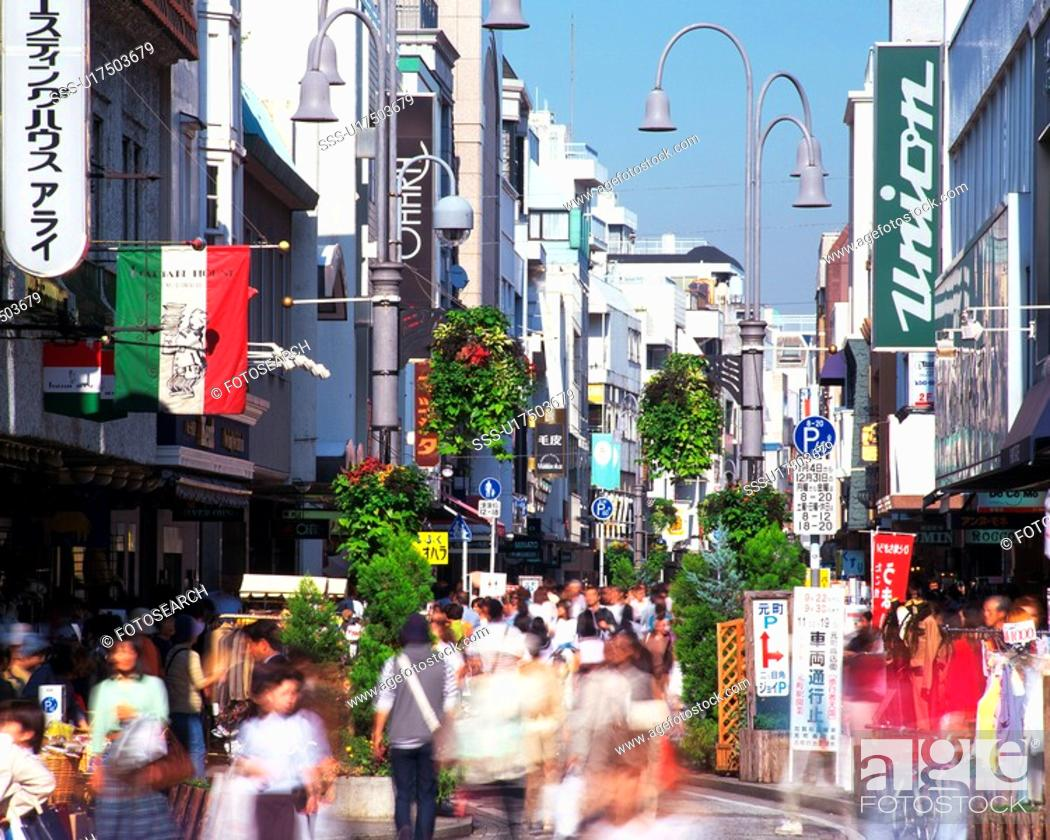 Stock Photo: a Shopping District in Yokohama City, With Several Signboards and a Large Group of People, Front View, Yokohama City, Kanagawa Prefecture, Japan.