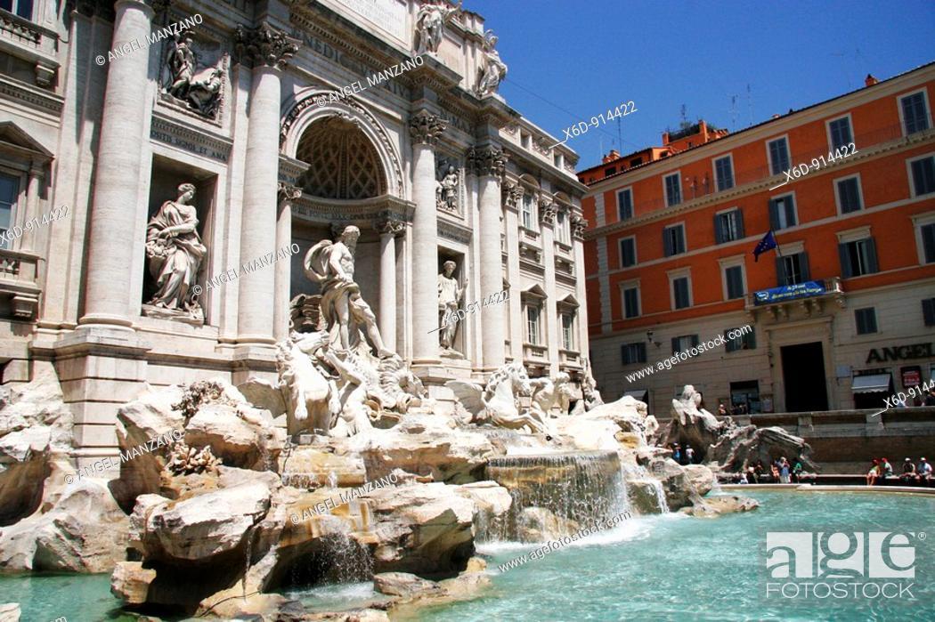 Stock Photo: Fontana di Trevi, Rome, Italy.