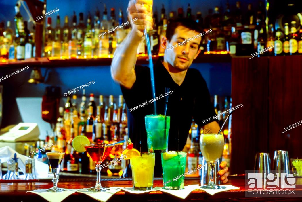 Stock Photo: Paris, France, Bartender Mixing Cocktail Drinks, in French Bar, (M. R. ).