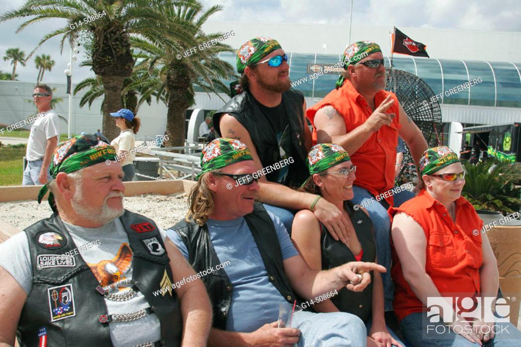 Stock Photo - A1A, Bike Week, Ocean Center, mature adult couples, leather  vest, bandannas. Daytona Beach. Florida. USA