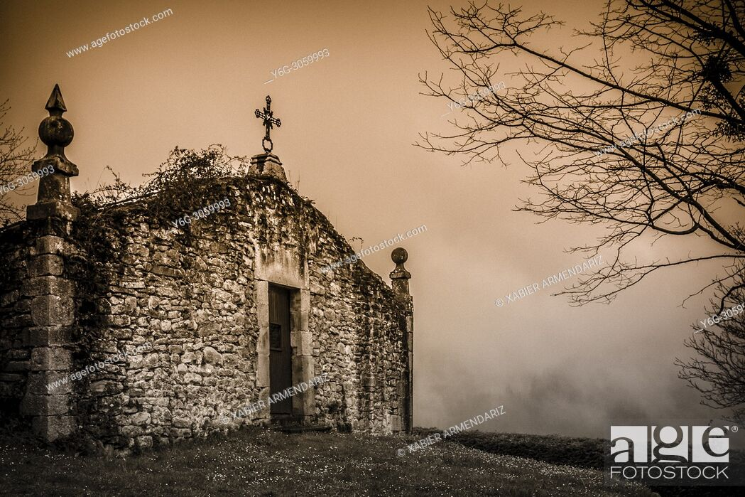 Stock Photo: Collegiate Church of Zenarruza, on the North Santiago Road, Biscay, Basque Country, Spain.