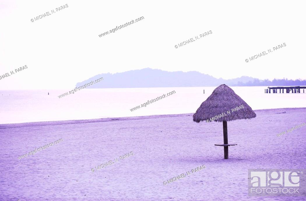 Stock Photo: Beach with straw hut.