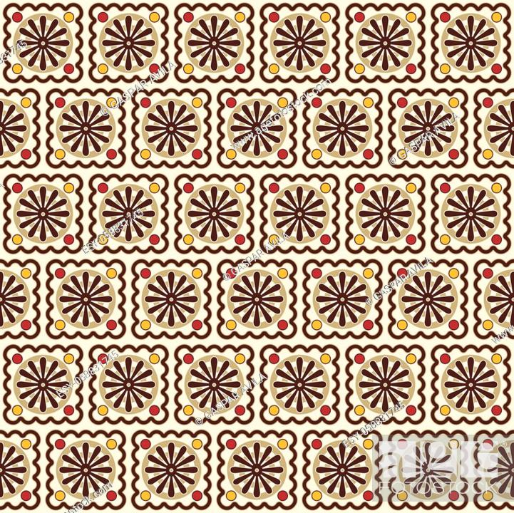 Stock Vector: Tiled daisies (or wheels) pattern, mostly in tan and brown. Resembles a tilework mural. Graphic design.