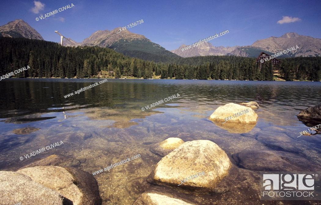 Stock Photo: Strbske pleso - the most famous tarn in the High Tatras mountains, Slovakia.