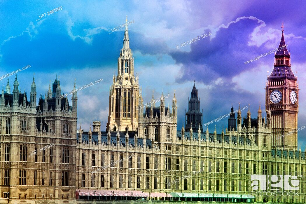 Stock Photo: England, London, Houses of Parliament, Palace of Westminster, Big Ben Clock Tower.