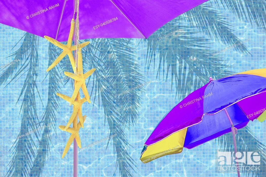 Stock Photo: Purple parasol yellow starfish blue summer mood ad space background.