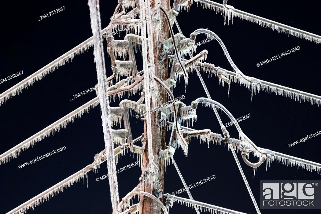 Stock Photo: Ice storm devistates Springdale and other areas of northwest Arkansas January 27-28, 2009. Many areas recieved over 1 inch ice accumulations on top of thick.