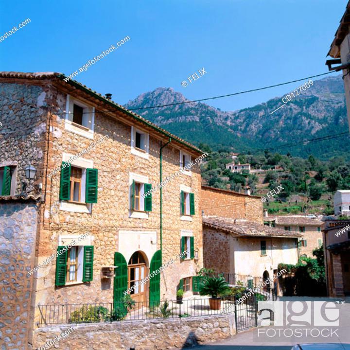 Stock Photo: Typical houses. Deya. Majorca. Balearic Islands. Spain.