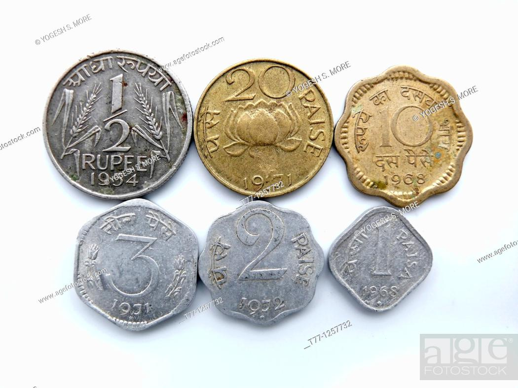 Different types of Indian currency, Antique coins, Stock Photo