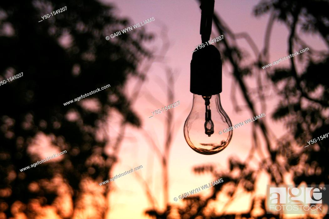 Stock Photo: one bulb light outside in woods forest.