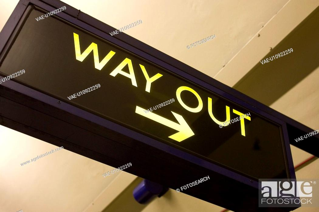 Stock Photo: Capital Letter, Directional Sign, Close-Up, Ceiling, Arrow Sign.