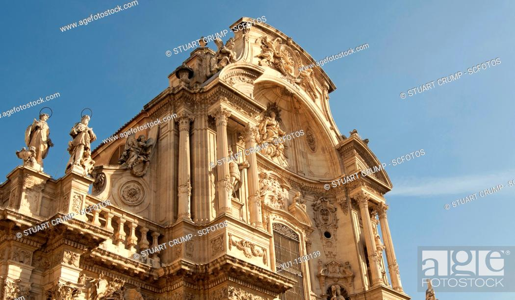 Stock Photo: Main facade of the Cathedral Church of Saint Mary in Murcia, at the plaza del Cardinal Belluga, City of Murcia, Southeastern Spain.