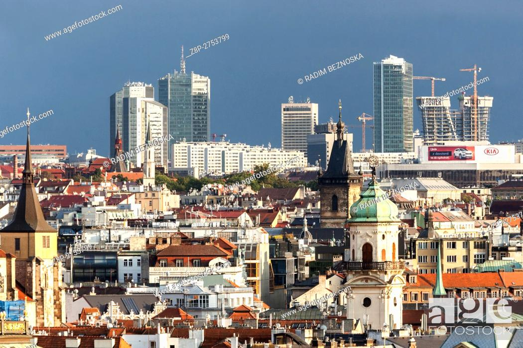 Imagen: Czech Republic, Prague, Old Town, Skyscrapers in the background in the district of Pankrac.