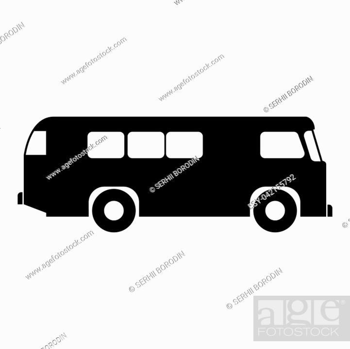 Vector: Retro bus icon black color vector illustration flat style simple image.