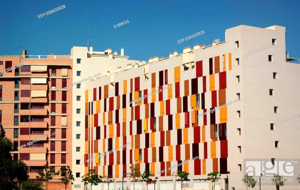 Stock Photo: Modern city block with wooden shutters in Murcia, Spain.