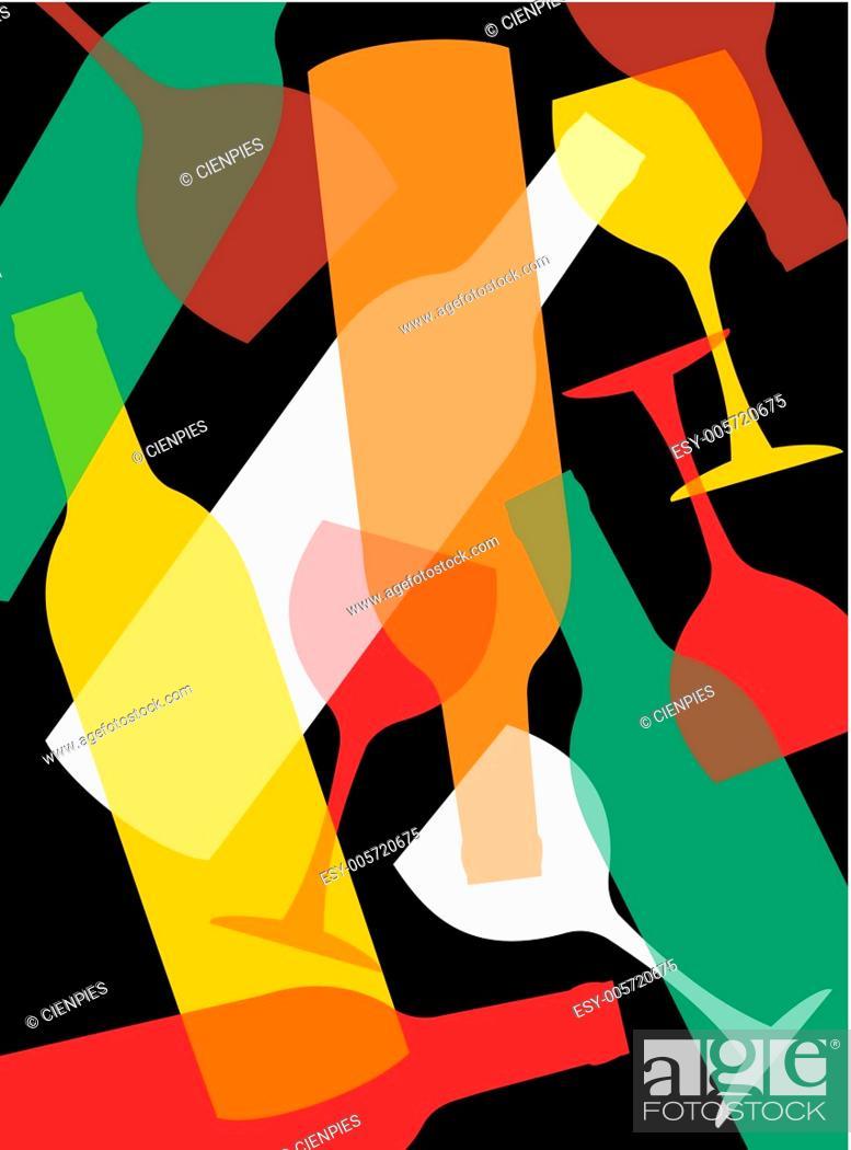 Stock Vector: Wine bottles and wineglasses background.