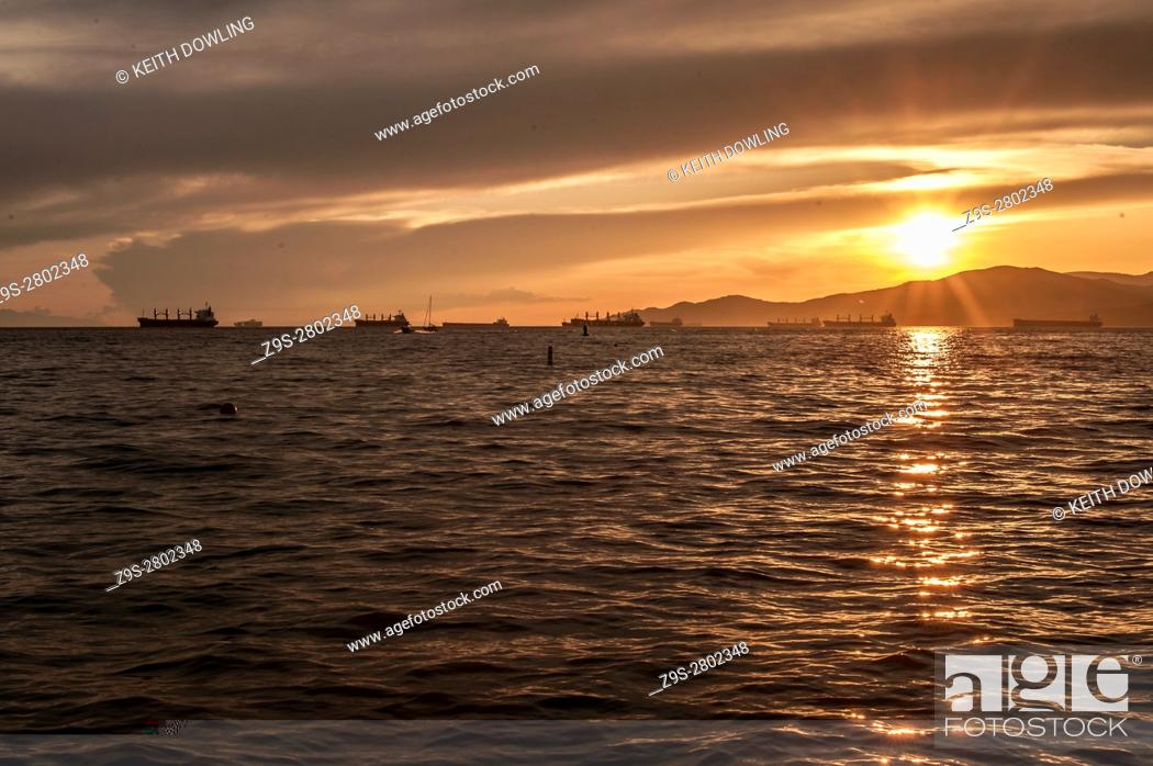 Stock Photo: Evening sun off English Bay, Vancouver, BC, Canada.