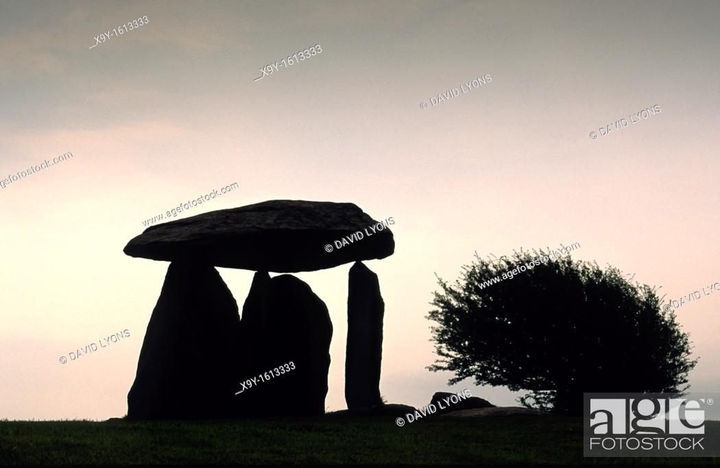 Stock Photo: Pentre Ifan prehistoric megalithic stone burial chamber dolmen in the Dyfed region of Wales, United Kingdom.