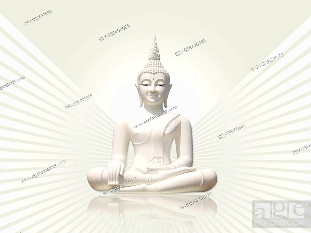 Stock Photo: White buddha statue, isolated including clipping path against light grey rays background.