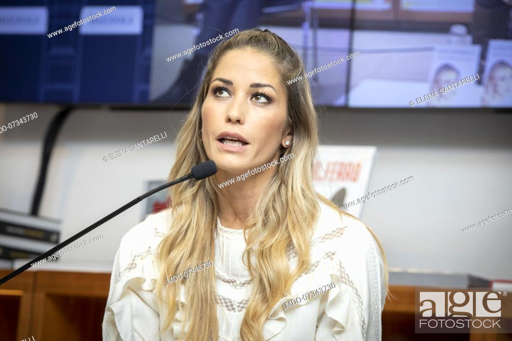 Stock Photo: Italian TV host, actress, showgirl and former model Elena Santarelli presents her book Una Mamma lo Sa at Feltrinelli Galleria in Milan with the participation.