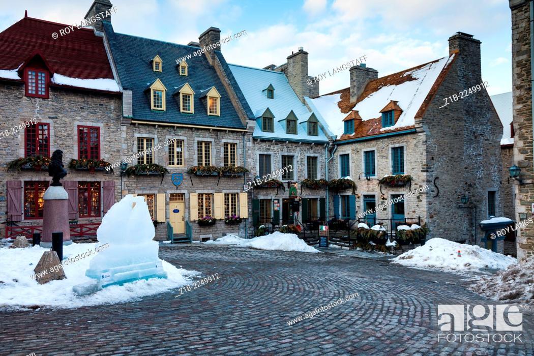 Stock Photo: Place Royale in the Quartier Petit Champlain, Quebec City, Canada.