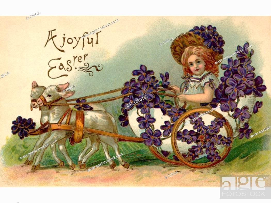 Stock Photo: A vintage Easter postcard of a girl riding in a wagon full of violets being pulled by two lamb.