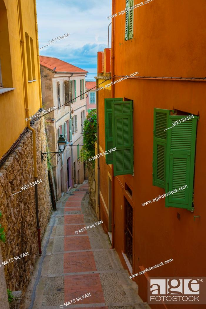 Stock Photo: Old Alley in Old Town in Menton in Provence-Alpes-Côte d'Azur, France.