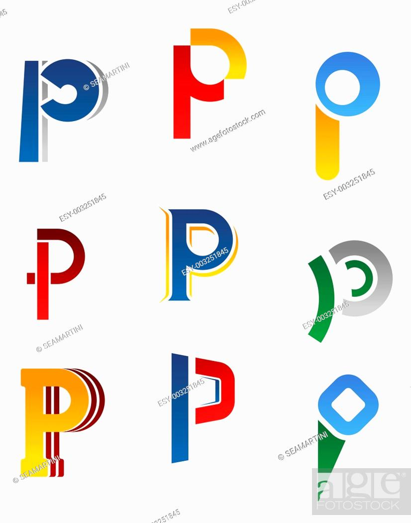 Stock Photo: Set of alphabet symbols and elements of letter P.